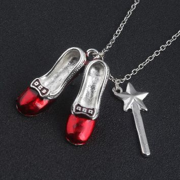 HOT SALE Wizard of Oz Alice in wonderland Sexy Red Shoes and Magic Wand Stars Charm necklace pendent Girls and women jewelry