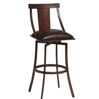"Amrita 30"" swivel barstool finished in Noyer metal and upholstered in Ford Brown"
