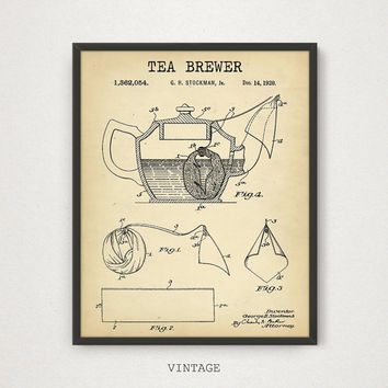 Tea Brewer Patent Print, 4 COLORS Printable, Kitchen Wall Art, Tea Poster, Tea Lover Gallery Wall, Vintage Brewer Kitchen Decor Tea Print