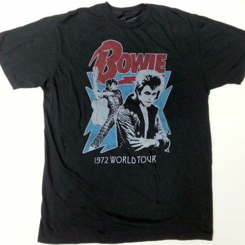 David Bowie 1972 WORLD TOUR Vintage Slim Fit T-Shirt 100% Authentic & Official