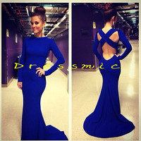 Hot Mermaid Blue Prom Dress Chiffon Backless Prom Dresses Custom Made Long Evening Dresses Evening Dress