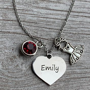 Personalized Engraved Dance Necklace with Birthstone