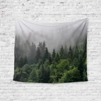 Spooky Trees Forest Fog Trendy Boho Wall Art Home Decor Unique Dorm Room Wall Tapestry Artwork
