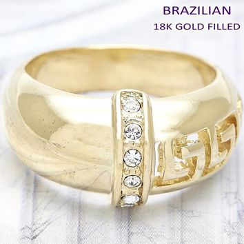 Gold Layered Women Greek Key Multi Stone Ring, with White Crystal, by Folks Jewelry