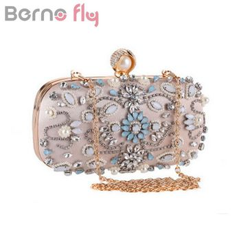 Berno fly Elegant Diamonds Evening Clutch Bag for Women Clutch Handbag Lady Wedding Purse Party Rhinestones Pearl Chain Bags