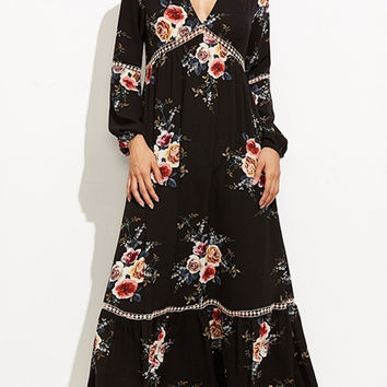 Black V Neck Floral Print Long Sleeve Maxi Dress