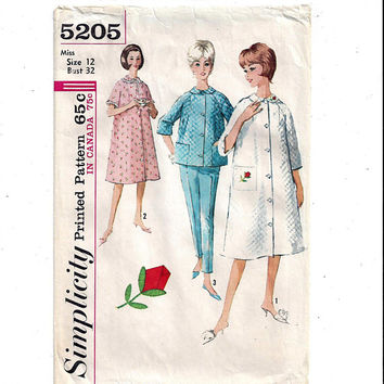 Simplicity 5205 Pattern for Miss Front Button Robe & Pajama Top, Pants, Rose Transfer, Size 12, 1950s, 1960s, Vintage Pattern, Home Sewing