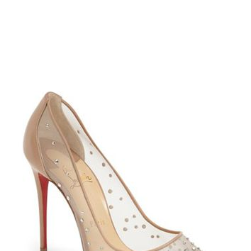 Women's Christian Louboutin 'Follies Strass' Pointy Toe Pump,