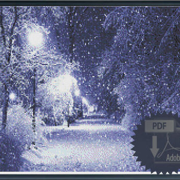 Winter evening Pdf Cross stitch chart - pattern of a snowy landscape in moonlight with snow falling -INSTANT DOWNLOAD