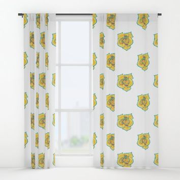 Yellow and Turquoise Rose Window Curtains by drawingsbylam