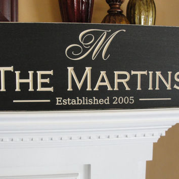 Engraved Family name signs Shabby Chic Custom by michaelswoodworks