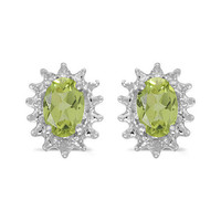 14K White Gold Oval Peridot and Diamond Earrings (1ct. Tgw)