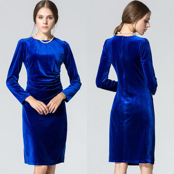 Dmart7dealWomen Dress European Winter Style Long-sleeve Velvet Dresses Pleated Party Dress High Quality Vestidos