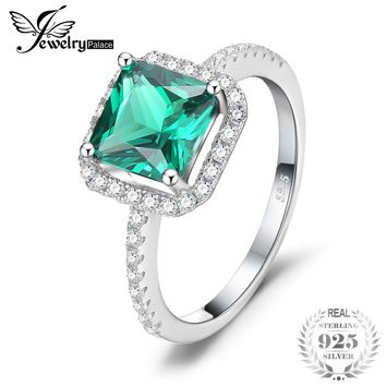 Square 1.8ct Created Emerald 925 Sterling Silver Ring