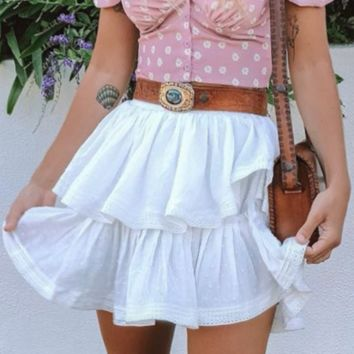 Spring and summer new short skirt small fresh women's casual white tutu cotton