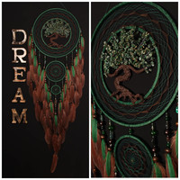 Dreamcatcher brown green Dreamcatcher brown green Dream Catcher Large Dream сatcher idea dreamcatchers boho dreamcatcher wall handmade gift