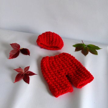 Newborn baby girl or boy hand knitted pants and Elf hat with knot set for Photography Props Dark Red
