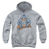 SUPERMAN/VINTAGE STANCE-YOUTH PULL-OVER HOODIE-ATHLETIC HEATHER