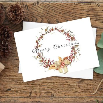 Watercolor Christmas Wreath Holiday Greeting Card with Envelope