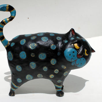 Chika the Cat - Paper Mache Clay Cat Sculpture