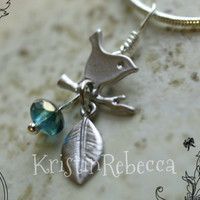 Wren Necklace Leaf and Blue Bead