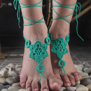 Handmade Knitting Hexagon Hollow Out Lace Anklet Bracelet Crochet Barefoot Sandals Foot Jewelry Accessory Gift-20