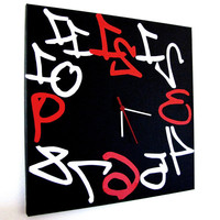 large wall clock  black red white modern design 16x16'' original clock Reverse
