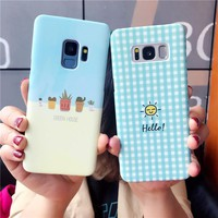 LOVECOM Cute Cactus Potted Phone Case For Samsung Galaxy S7 Edge S8 S9 Plus Hard PC Grid Sunshine Back Cover Cases Coque Gift
