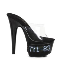 "Ellie Shoe E-709-VANITY-LED 7"" Pointed Stiletto Mule with scrolling LED"