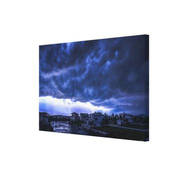 Hurricane Storm Clouds Above Miami Florida Canvas Print