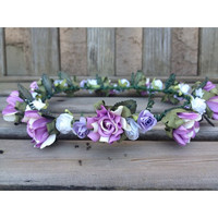 lavender and white floral crown by Elizabethaudreyy on Etsy