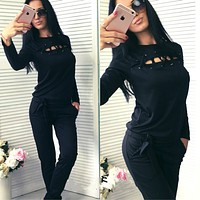 Women Casual Solid Color Hollow Bandage Sweater Long Sleeve Trousers Set Two-Piece Sportswear