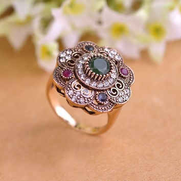 High Quality Vintage Sculpture Flowers Rings Emerald Jewelry Fashion Turkish Cystal AntiSilver Finger Ring Aneis Anel Christmas