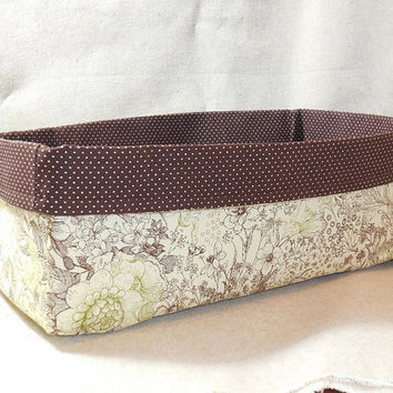 Lovely Brown and Green Floral Fabric Basket