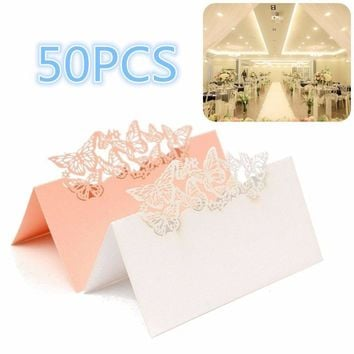 50Pcs Laser Cut Butterfly Hollow Out Paper Table Place Name Seat Card Wedding Party Accessories