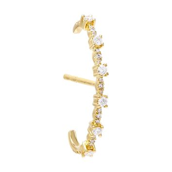 Diamond Hook Stud Earring 14K