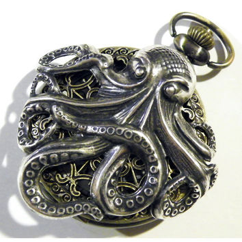Steampunk Silver Octopus Pocket Watch Necklace or by tempusfugit