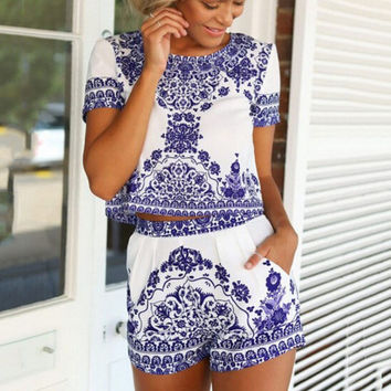 Blue and White Porcelain Print Short Sleeve Chiffon Cropped Top Shorts Set