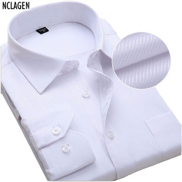 New Solid Color Men Dress Shirt Long Sleeve Luxury Camisas Slim Fitted Male Autumn Wedding Clothes Plus Size 6XL 7XL 8XL