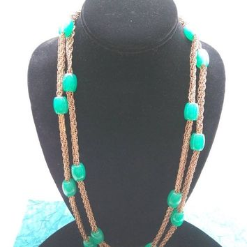 ON SALE Vintage Green Beaded Long Flapper Length Necklace, 1950's 1960's Costume Jewelry