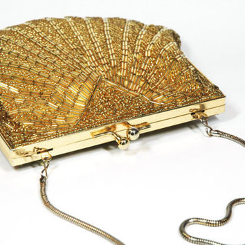 Vintage Gold Metallic Beaded Pocketbook, Small Purse, Across Body Side Bag, Clutch with Strap