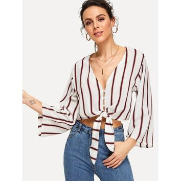 Knotted Hem Striped Blouse