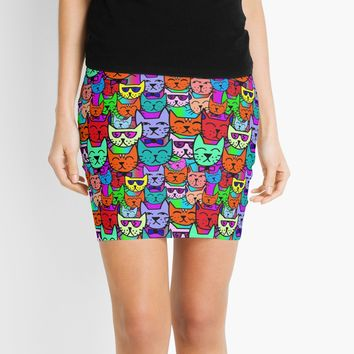 'Colorful Rainbow Cats' Mini Skirt by Gravityx9