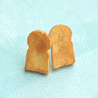Bread Toast Stud Earrings
