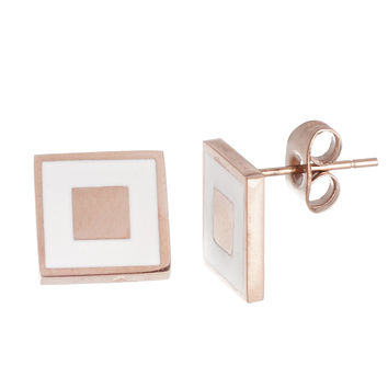 Enamel Stripe Stud Earrings