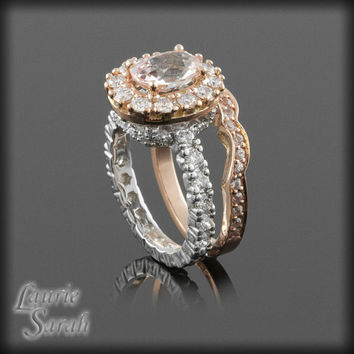 Morganite Colored Pink Sapphire Wedding Set with Contoured Diamond Band - 14kt Rose Gold and White Gold - LS2386