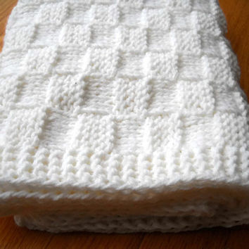 White Baby Blanket Hand Knit - Basketweave Children Afghan - Travel Blanket - Baby Hand Knitted Basketweave Blanket - White Knitted Blanket