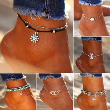 Women Fashion Beach Ankle Bracelet Vintage Silver Animal Anklets Double Layer Beads Anklets Crown Starfish Pendent Anklet Summe