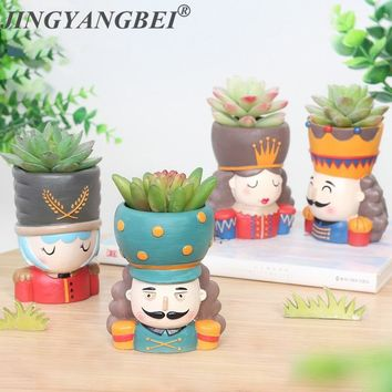 4pcs/set Nutcracker Doll Flower pot  Resin Succulent Plant Pot King Queen Flower Pot Fairy Garden Bonsai Planter