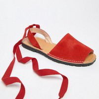 Park Lane Wide Fit Suede Tie Leg Flat Sandals at asos.com
